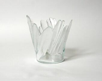 vintage lindshammar vase glass frosted experimental satinated sweden scandinavian clear modern collectible