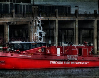 Art,Photography,Wall Art,Red, Nautical,Home Decor, Fine Art Print,Chicago, Navy Pier, Chicago Fire Department, Navy Pier Photo,Chicago River