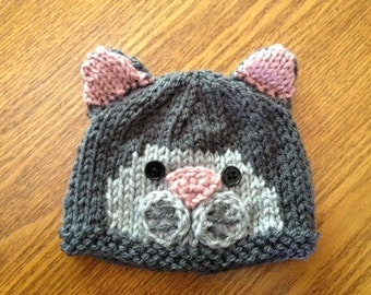 Itty Bitty Kitty Hat - Knitted Cat Baby Hat