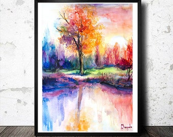 Sunsets Landscape watercolor  painting print, nature art, watercolor landscape, landscape painting, original watercolor, illustration