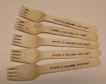 Maybe a cupcake will help- Wooden forks - set of 25