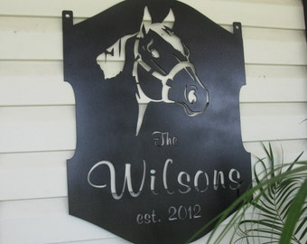 Personalized, metal sign with quarter horse head