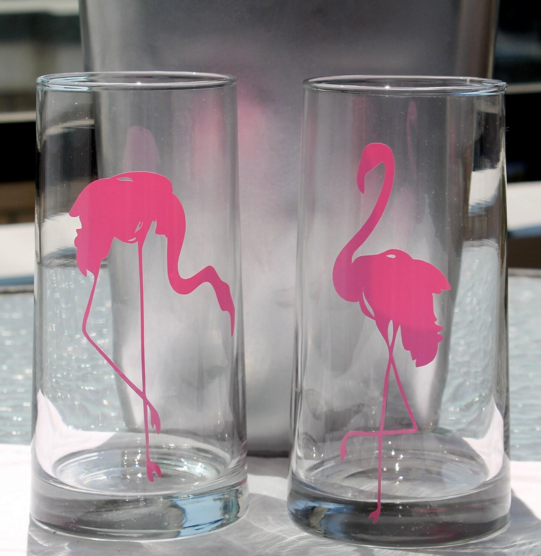 set of 2 pink flamingo 16 oz drinking glasses by seventhandj. Black Bedroom Furniture Sets. Home Design Ideas