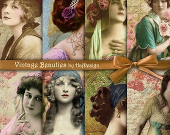 VINTAGE BEAUTIES - Instant Download, Digital Collage Sheet - Decoupage Paper - Scrapbook Paper - Digital Paper - Vintage Paper
