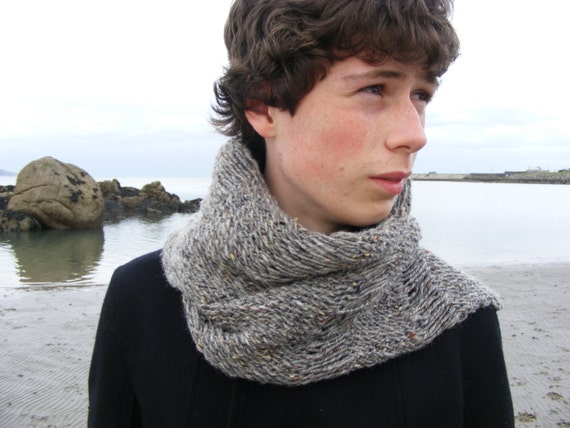 Quick Men s Scarf Knitting Pattern : Mens Scarf PDF Knitting Pattern, grey tweed scarf pattern, quick knit men...