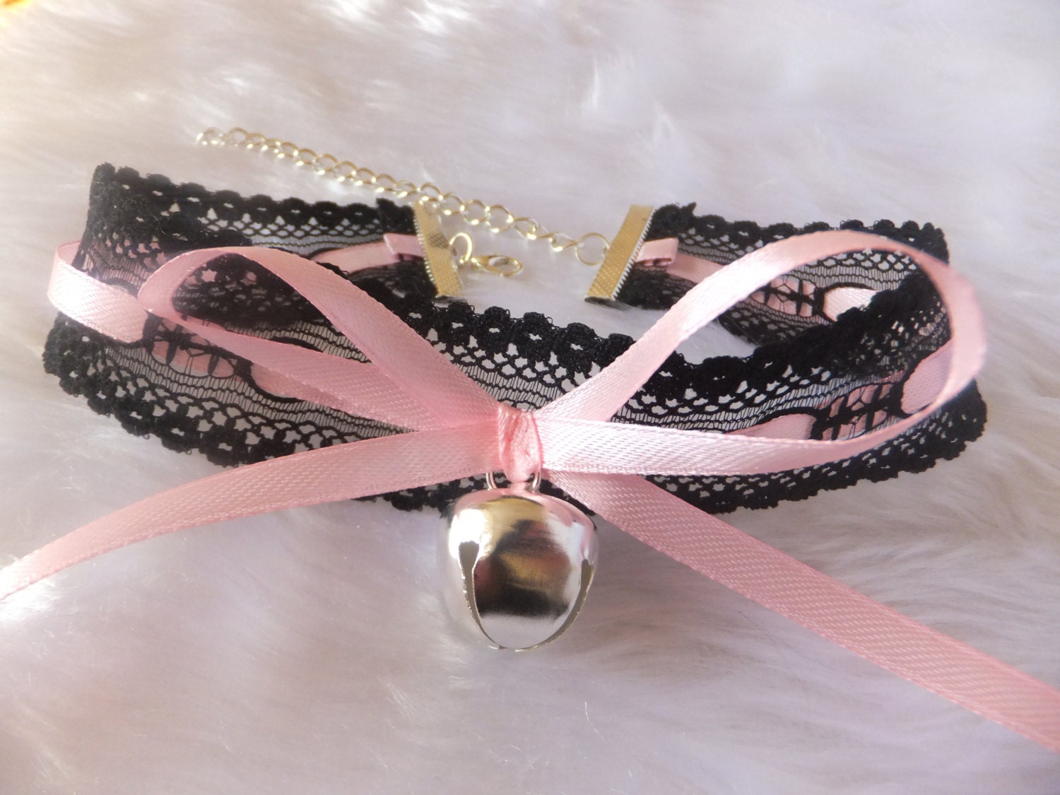 Black Lace Light Pink Ribbon Silver Jingling Bell Human