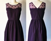 LORRAINE (Plum) : Plum purple chiffon dress, lace sweetheart neckline, vintage inspired, party, day, bridesmaid