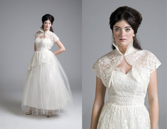 Reserved for rebecca vintage 50s wedding dress lace and for Best etsy wedding dress shops