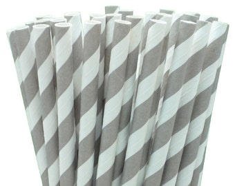 25 Grey Stripe Paper Straws-7.75 Inches-Party Straws-Shower-Wedding-Party-Biodegradable
