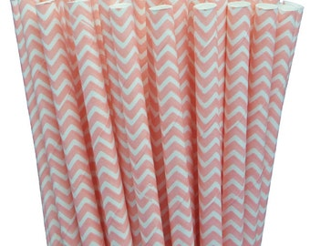 25 Light Pink Chevron Paper Straws-7.75 Inches-Party Straws-Shower-Wedding-Party-Biodegradable