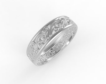 14K white gold Antique wedding band, Ring wedding woman