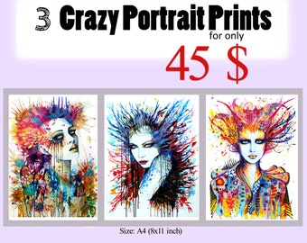 3 Crazy Portrait Prints