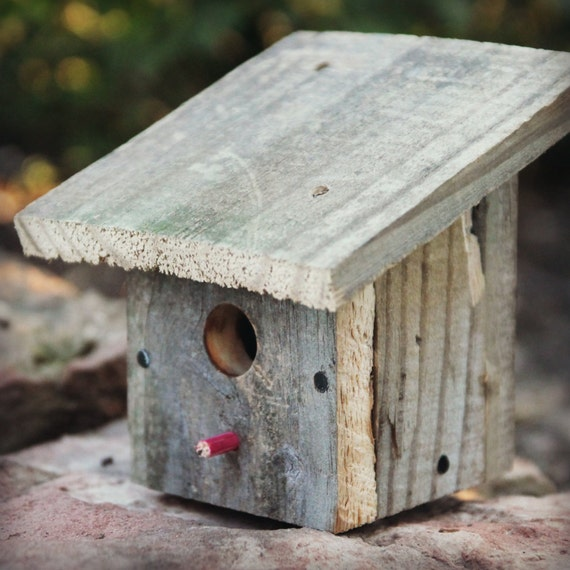 Rustic Barn Wood Miniature Birdhouse Upcycled Slant By