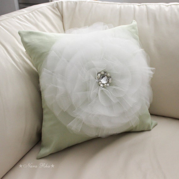 Decorative Throw Pillows Etsy : Mint Flower Pillow Cover Decorative Pillows Wthie Tulle Flower Bedding Throw Pillows Accent ...