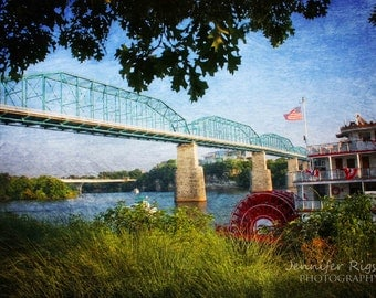 The Delta Queen & Walnut Street Bridge - Chattanooga Art, TN, Scenic City, Famous Bridges, Chattanooga Photography