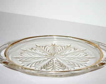 Vintage Christmas/Winter Gold-Rimmed Snowflake Glass Plate with handles
