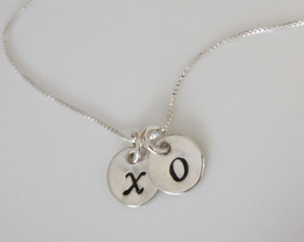 Double Initial Necklace, Sterling Silver Initial Necklace