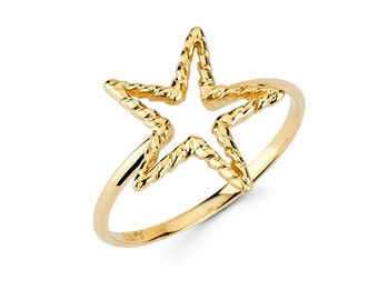 14K Star ring, gold star, twist wire, star, star jewelry, gold star ring, dainty jewelry