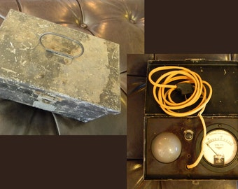Vintage Lamp in a Box with AC Volt Meter - Steampunk Lamp Crafter Material