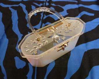 Lucite Handbag Miami 1950s Charles S Kahn USA Grace Kelly Bridal Roses
