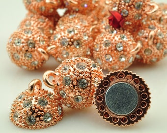 10 Sets of Rose Gold plated Crystal Magnetic Clasp in 14mm