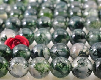 62 pcs  of Natural moss agate smooth round beads in 6mm