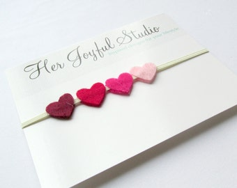 Baby Heart Headband... Felt Heart Headband... Valentines Headband for Adults... Valentines Headband... Ombre Heart Headband...