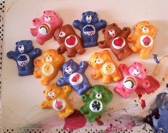 2 hand made clay care bears magnets