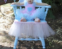 Beautiful upgraded floral high chair or chair tulle skirt