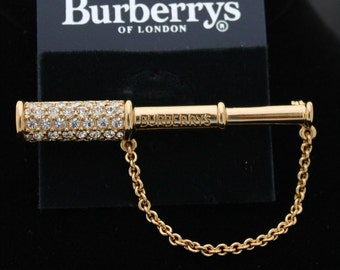 """Burberrys of London Signed Gold Plated Telescope Pin Brooch Engraved """"Burberrys"""""""