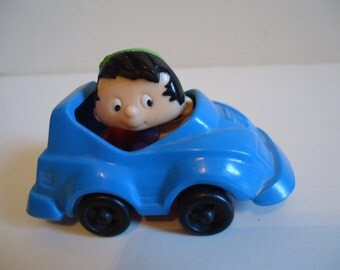 90s Collectible Bobby's World Cartoon Blue Race car Kids Meal Toy 1994 Burger King
