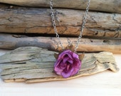 Acorn cap silk flower necklaces