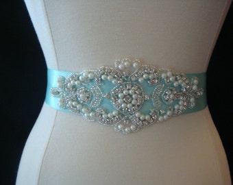 Bridal Sash - Wedding Dress Sash Belt - Aqua Blue Pearl and Rhinestone Sash - Aqua Rhinestone Bridal Sash