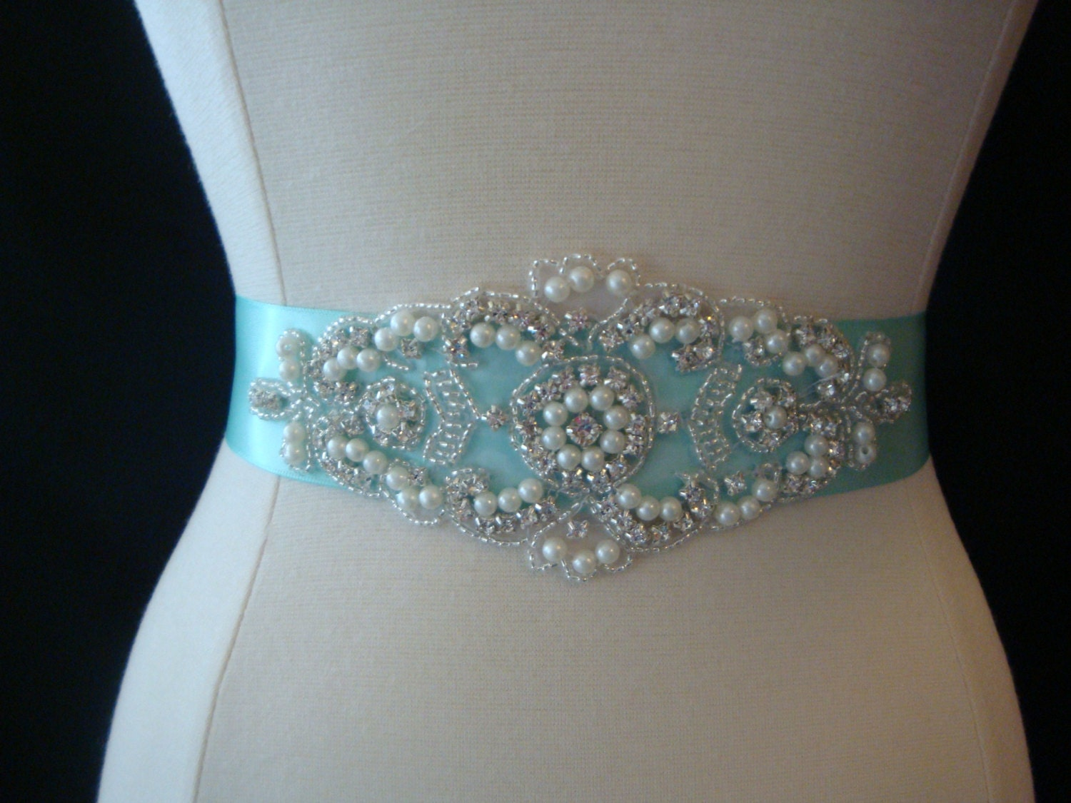 Aqua blue wedding sash rhinestone bridal sash wedding belt for Blue sash for wedding dress