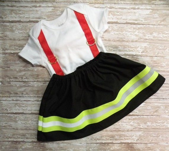 Firefighter Baby Girl Wide Outfit Black With By Simplysweetbyb