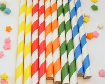 50 Red Yellow Orange Green Blue Primary Rainbow Colored Striped Paper Straws