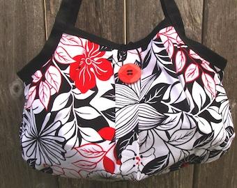 Black and Red Floral Shoulder Bag Purse