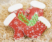 Hand decorated Christmas Sock Cookies (FREE shipping US & Canada)