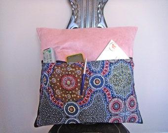 Pocket pillow cushion cover  aboriginal art design 18x18 (45x45cm)