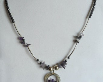 Amethyst Necklace / Amethyst and Sterling Silver Necklace / Boho