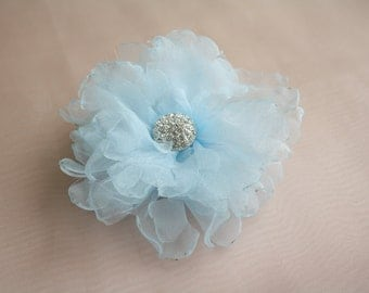 SALE! Bride Head Piece, Wedding Bride/Bridesmaid Pale Blue Flower Bloom Hair Accessory with a Beautiful Rhinestone Brooch