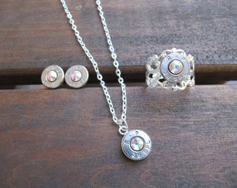 Country Wedding - Country Bridesmaid Gift - Bridal Party - Bullet Jewelry - 38 Special Bullet Jewelry Set with Earrings, Necklace and Ring