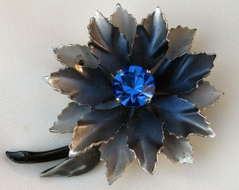 Vintage Enamel Blue & Gray Flower Brooch/Pin w/ Blue Rhinestone