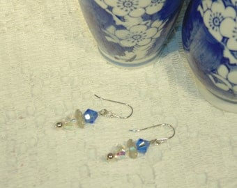 Blue Swarovski Crystal Earrings With Sterling Hooks - A must Have At This Very Low Price - FREE SHIPPING.
