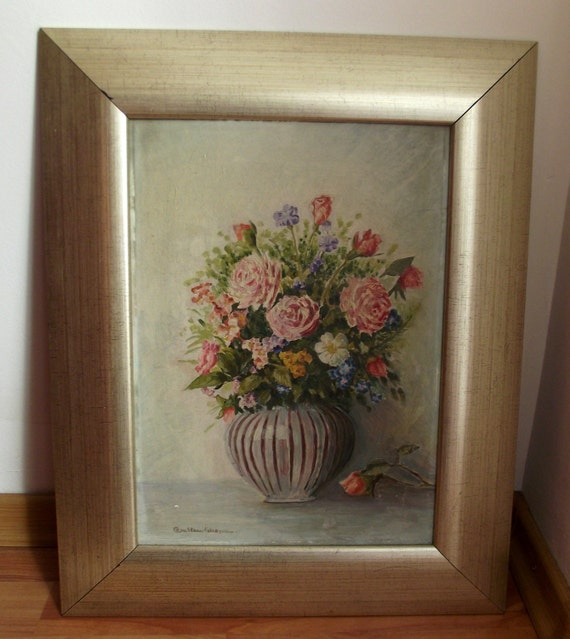 Vintage 1990s romanian painting home decor bowl with flowers Home decor 1990s