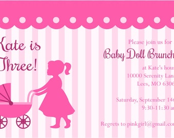 Baby Doll Brunch Birthday Party Invite