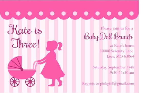 Baby Doll Brunch Birthday Party Invite – Doll Party Invitations