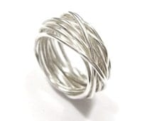 Silver wire ring - Nest ring - Statement ring - Unique ring design - Handmade in any size