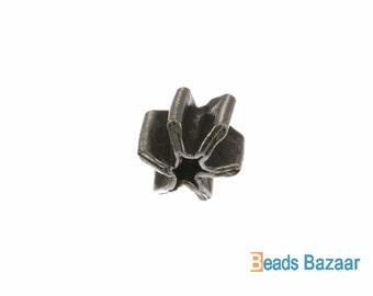 Karen Hill Tribe silver 6-Ray Clear Tribal Pleat Bead, 6 x 6 mm ( 16 pieces )