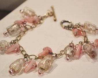 CLEARANCE - Pink glass Beaded Bracelet - Glass Beads - Pink